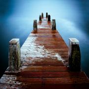 Old Wood Framed Prints - Water on the Jetty Framed Print by David Bowman