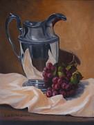 Old Pitcher Painting Prints - Water Pitcher With Fruit Print by Lisa Phillips Owens