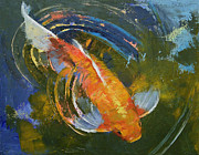Koi Painting Posters - Water Ripples Poster by Michael Creese