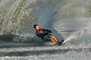 Slalom Prints - Water Skiing Magic of Water 13 Print by Bob Christopher
