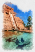 Shark Digital Art Prints - Water Slide at the Mayan Temple Atlantis Resort Print by Amy Cicconi