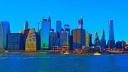Skylines Pastels Prints - Water Taxi Print by Dan Hilsenrath