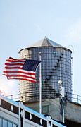 Red White And Blue Digital Art Prints - Water tower Americana Print by Anahi DeCanio