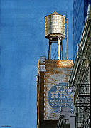 Water Tower Paintings - Water Tower at Dusk by Tom Hedderich