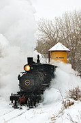 Winter Train Images Prints - Water Tower behind the Steam Print by Ken Smith