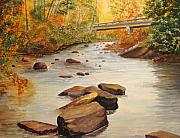 Covered Bridge Paintings - Water Under The Bridge by Julia Rietz