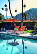Blue Chairs Posters - WATER WAITING Palm Springs Poster by William Dey