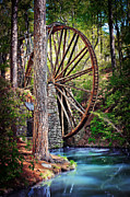 Old Mills Framed Prints - Water Wheel at the Old Mill - Berry College Mountain Campus Framed Print by Anne Beatty