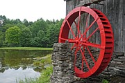 Mill Framed Prints - Water Wheel Vermont Framed Print by Edward Fielding