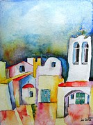 Jacqueline Schreiber Art - Watercolor ... meets Greek architecture by Jacqueline Schreiber