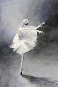 Ballet Dancers Framed Prints - Watercolor Ballerina Painting Framed Print by Beverly Brown Prints