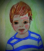 Kate Farrant Posters - Watercolor Boy  Poster by Kate Farrant