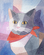 Cat Images Paintings - Watercolor Cat by Lutz Baar