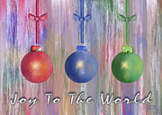 Christmas Card Digital Art Metal Prints - Watercolor Christmas Bulbs Metal Print by Arline Wagner