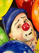Klown Painting Metal Prints - Watercolor Clown 5 Sean Carlock Metal Print by Patty Vicknair