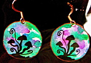 Mother Jewelry - Watercolor Earrings Mushroom Trio Silhouette by Beverley Harper Tinsley