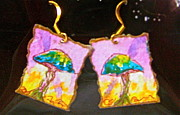 Psychedelic Jewelry - Watercolor Earrings Vibrant Mushrooms by Beverley Harper Tinsley