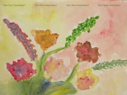 Mood Greeting Cards Posters - Watercolor Flowers Poster by Sonali Gangane