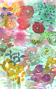Big Mixed Media Prints - Watercolor Garden Blooms Print by Linda Woods