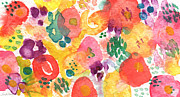 Cheerful Metal Prints - Watercolor Garden Metal Print by Linda Woods