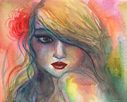 Vibrant Colors Drawings Prints - Watercolor girl portrait with flower Print by Svetlana Novikova