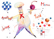 Menu Prints - Watercolor illustration of chef Print by Regina Jershova