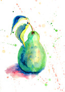 Organic Paintings - Watercolor illustration of pear  by Regina Jershova