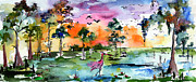 Panoramic Painting Framed Prints - Watercolor Landscape Wetland Nature with Spoonbill Framed Print by Ginette Callaway