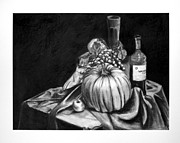 Wine Grapes Drawings Posters - Watercolor Poster by Laura St Onge