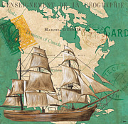 Schooner Posters - Watercolor Map 2 Poster by Debbie DeWitt