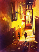 Watercolor Society Prints - Watercolor painting of Guanajuato Mexico Print by Ryan Fox