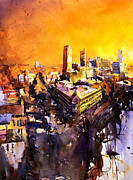 American Watercolor Society Posters - Watercolor painting of Raleigh North Carolina skyline Poster by Ryan Fox