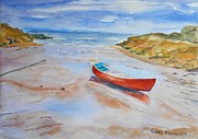 Cornwall Originals - Watercolor painting of Red Boat by Geeta Biswas