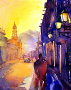 First Friday Prints - Watercolor painting of street and church Morelia Mexico Print by Ryan Fox