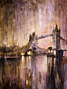American Watercolor Society Posters - Watercolor painting of Tower Bridge London England Poster by Ryan Fox