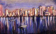 Watercolor Society Prints - Watercolor painting of Vancouver skyline Print by Ryan Fox