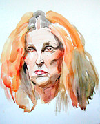 Portraits Paintings - Watercolor Portrait of a mad redhead by Greta Corens