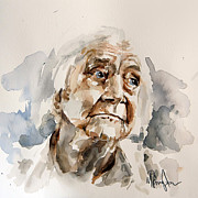 Water Colour Drawings - Watercolor Portrait of an old woman by Michael Tsinoglou