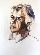 Portrait Painting Posters - Watercolor Portrait sketch of a man in monochrome Poster by Greta Corens