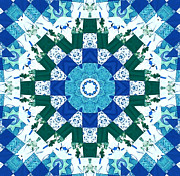 Blue Quilts Tapestries - Textiles Posters - Watercolor Quilt Poster by Barbara Griffin