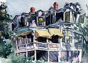 Roof Mixed Media Prints - Watercolor Remake of The Mansard Roof Print by Michael  Pattison