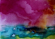 Wet Into Wet Watercolor Paintings - Watercolor Sea Expression 2  4-24-12 julianne felton by Julianne Felton