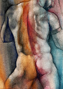 Nude Man Framed Prints - Watercolor Study 10 Framed Print by Chris  Lopez