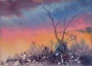 Mjonesart Prints - Watercolor Sunset Print by Micheal Jones