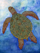 Animal Mixed Media Metal Prints - Watercolor Tribal Turtle  Metal Print by Carol Lynne