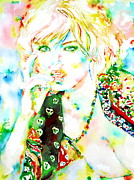 Gold Necklace Prints - Watercolor Woman.3 Print by Fabrizio Cassetta
