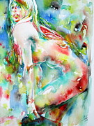 Undressing Paintings - WATERCOLOR WOMAN.5- undressing by Fabrizio Cassetta