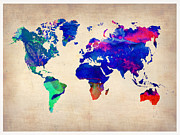 World Map Digital Art Metal Prints - Watercolor World Map 1 Metal Print by Irina  March