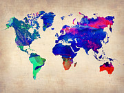 World Map Digital Art Metal Prints - Watercolor World Map 4 Metal Print by Irina  March