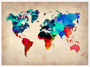 World Map Digital Art Metal Prints - Watercolor World Map Metal Print by Irina  March